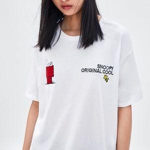 Zara x Peanuts Embroidered Snoopy Tee